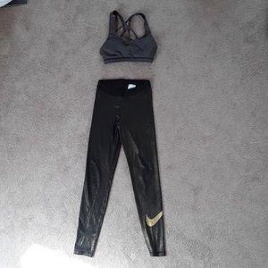 Gold black nike leggings size small